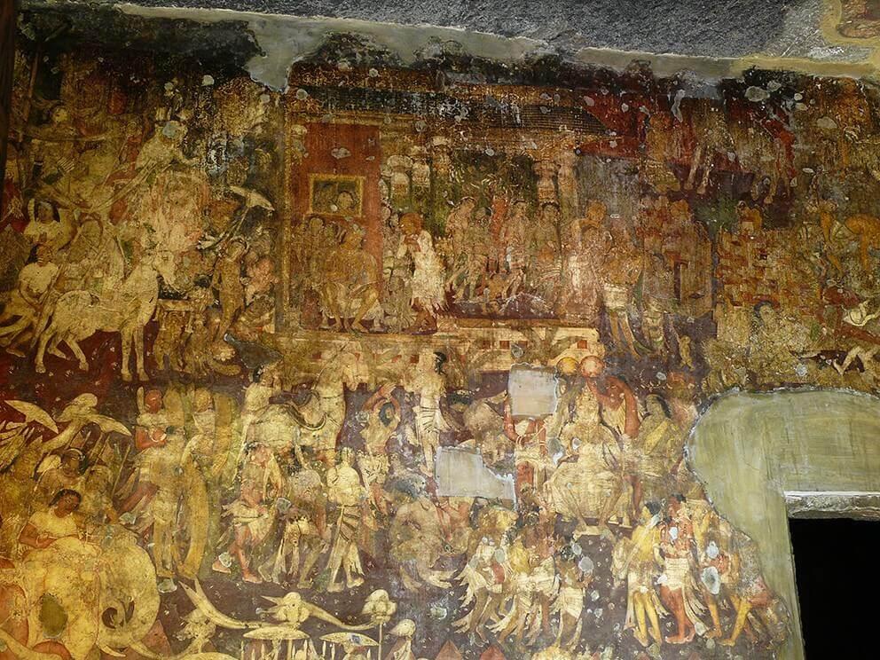 Representation of the Coronation of Simhala which recalls the story of King Vijaya - Ajantâ Caves. © Osmund Bopearachchi.