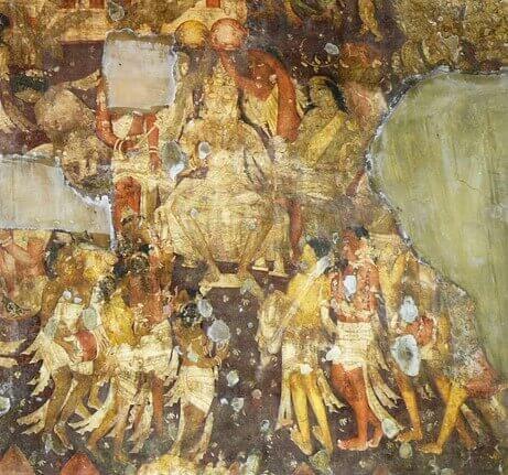 Representation of the Coronation of Simhala which recalls the history of King Vijaya - Ajantâ Caves (detail). © Osmund Bopearachchi.