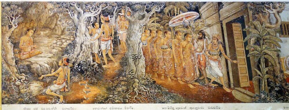 Painting representing the Thera Mahinda and the king Devanampiyatissa. Kelaniya Rajamaha vihara. © Osmund Bopearachchi.
