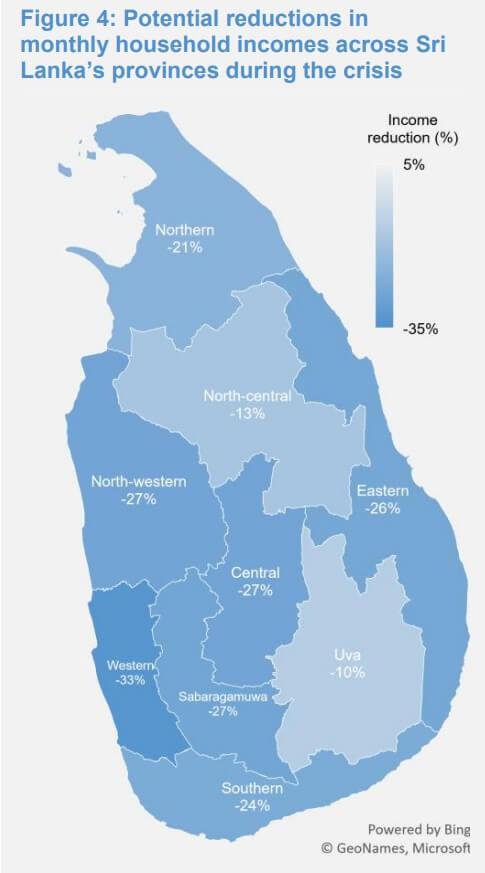 Depth of the loss of income per province - Source: UN Working Paper June 2020