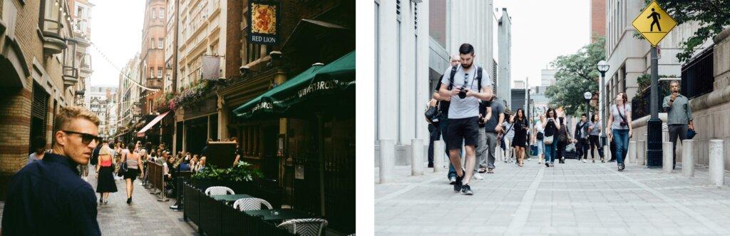 Common roots, similar cultures. Photos: Soho, London © Zach Rowlandson Unsplash | Toronto, Canada © Matt Quinn Unsplash