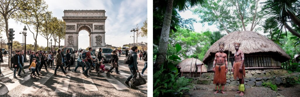 People crossing the road in Paris, France © Jacek Dylag | People in Bali, Indonesia, © Surya Prakosa