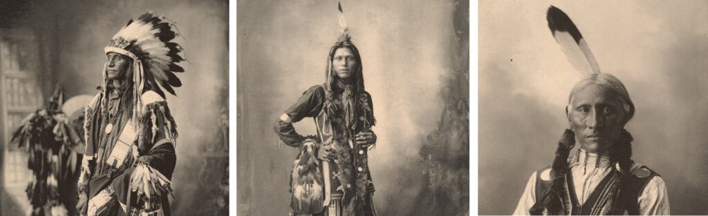 Native Americans lived in close proximity but were extremely diverse. Photos: A Sioux native American, a Ponca native American, a Cheyennes native American © Boston Public Library Unsplash