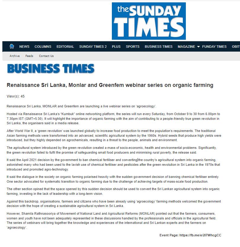 The Sunday Times - Building an organic farming model for Sri Lanka